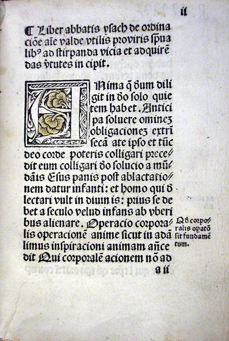 First page of Latin translation of the Ascetical Homilies printed in Barcelona in 1497